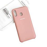 Силиконовый чехол на Samsung A20  Soft-touch Pink