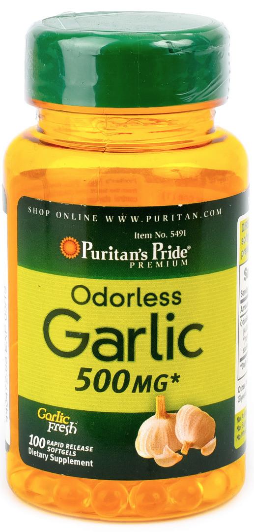 Антиоксидант Puritan's Pride - Garlic Odorless 500 мг (100 капсул)
