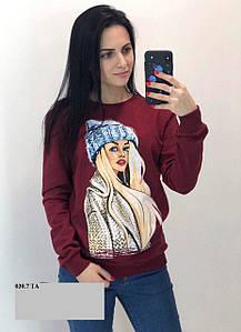 Женский свитшот теплый Девушка в шапке 030.7 ТА