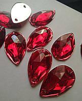 Стрази пришивні Крапля 17х28 мм Червоний, синтетична скло, фото 1