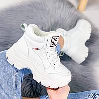 Женские зимние ботинки на шнуровке /кроссовки хайтопы на массивной тракторной подошве белые, фото 1