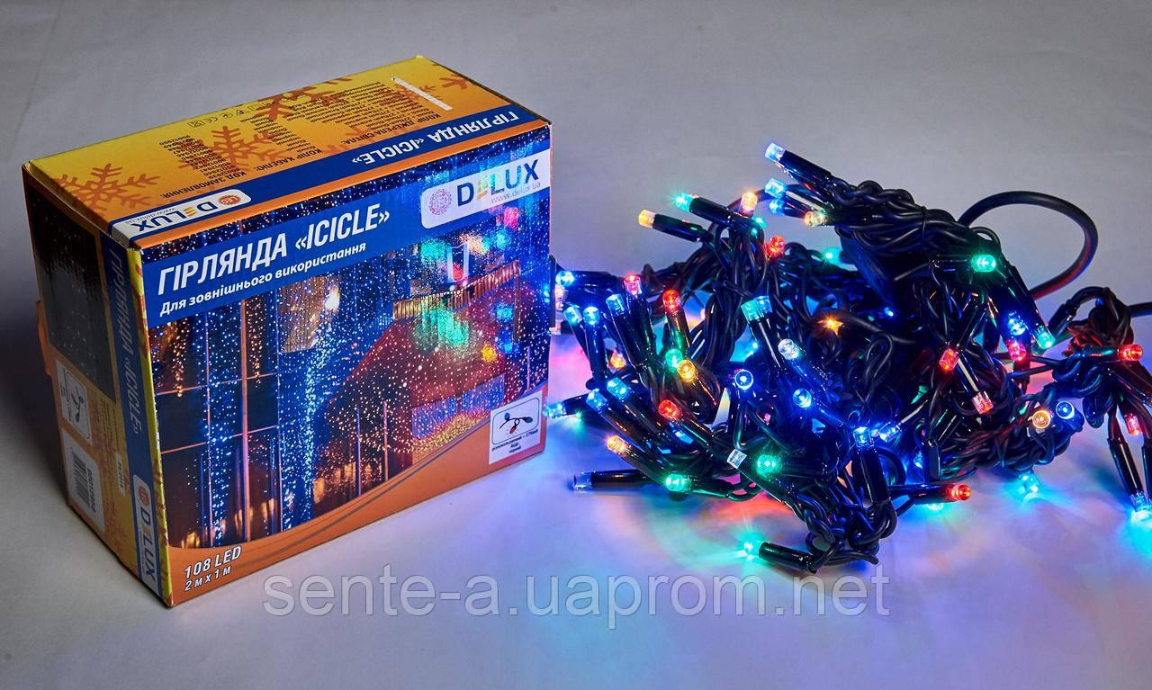 Гирлянда внешняя DELUX ICICLE 108 LED бахрома 2x1m 27 flash мульти/черный IP44 EN
