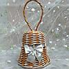 Дзвіночок срібло Новорічна ялинкова прикраса в еко-стилі з білою стрічкою 11х11