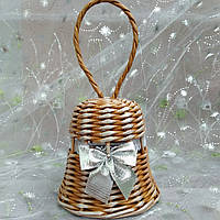 Дзвіночок срібло Новорічна ялинкова прикраса в еко-стилі з білою стрічкою 11х11, фото 1