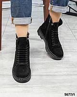 Ботинки женские  с декоративной шнуровкой замшевые