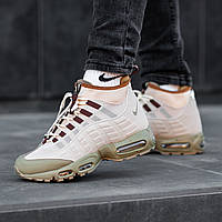 Кроссовки Nike Air Max 95 SneakerBoot мужсие зимние. Натуральная кожа, термоносок, прошиты. Оливковые OS-0887