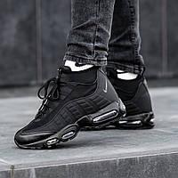 Кроссовки Nike Air Max 95 SneakerBoot мужсие зимние. Натуральная кожа, термоносок, прошиты. Черные OS-0885