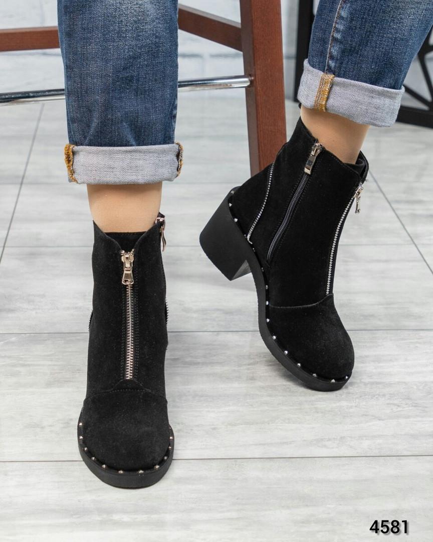 Ботинки женские со змейкой черные