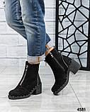 Ботинки женские со змейкой черные, фото 3