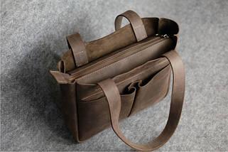 Шоппер с двумя карманами Винтажная кожа цвет Шоколад, фото 3