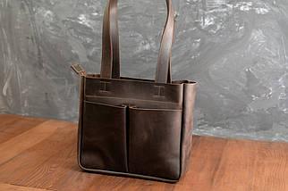 Шоппер с двумя карманами Винтажная кожа цвет Шоколад, фото 2