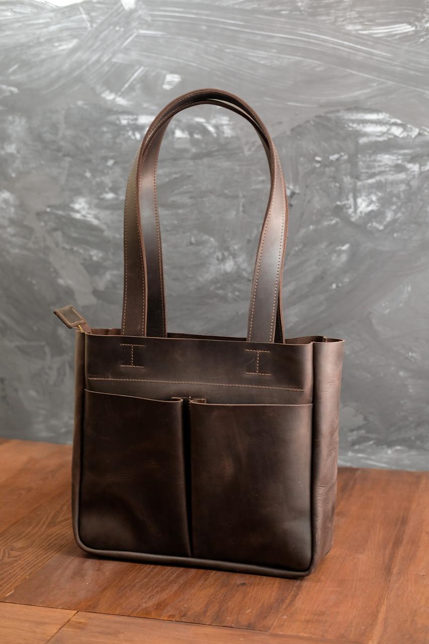Шоппер с двумя карманами Винтажная кожа цвет Шоколад