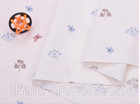 Сатин (хлопковая ткань) бабочки и листики (компаньон к бежевым лисичка)(40*160)