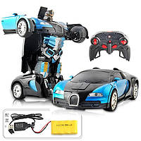 Машинка Трансформер Bugatti Robot 1:12 синяя