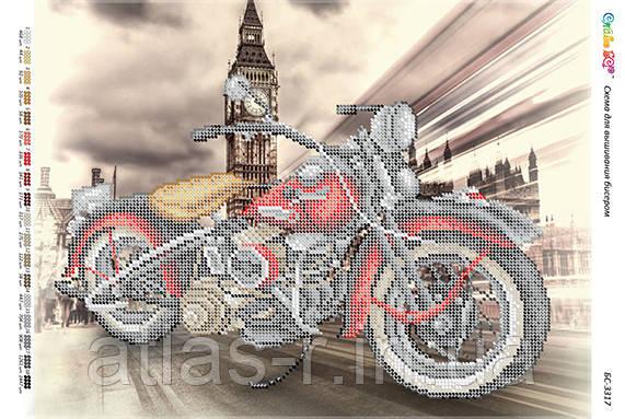 """А3 """"Мотоцикли червоний (част. віш.)"""". Схема для часткової вишивки бісером"""