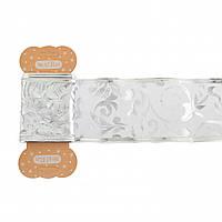 Лента декоративная 6 см * 2 м, серебряная, с узором, полупрозрачная, новогодняя