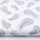 Лоскут ткани с летящими перьями серого цвета на белом фоне, №2379, размер 27*75 см, фото 2