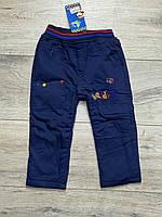 Утепленные катоновые брюки на флисе для мальчиков. 1  год.