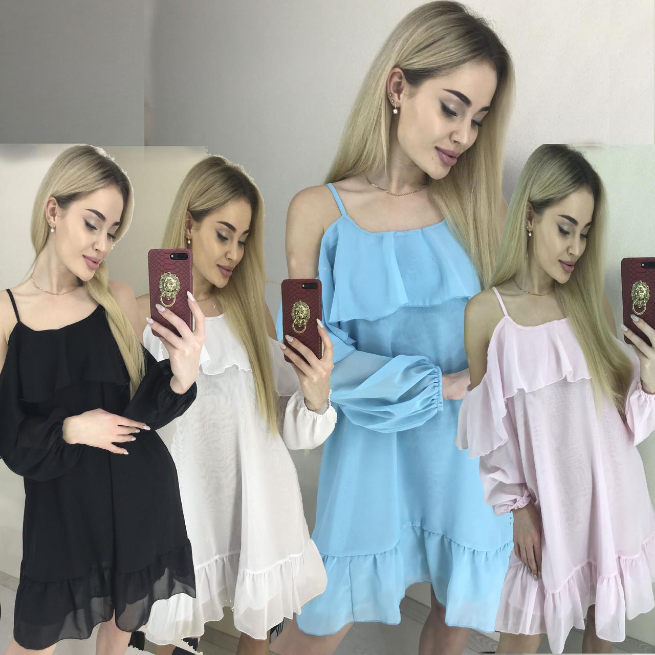 Легкое воздушное платье мини из шифона /разные цвета, 42-46, ft-443/