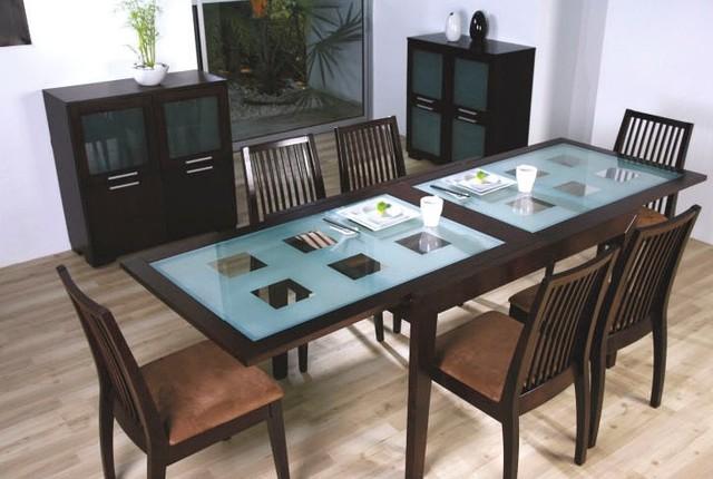Стол из стекла и натурального дерева «Сандра»