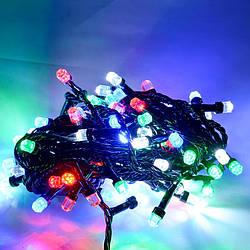 Гирлянда кристалл 100 LED 5 мм на черном проводе,разноцветная