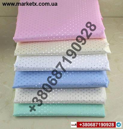 Блакитна тканинна шторка для ванни. Металеві вставки з нержавіючої сталі в отворах!, фото 2