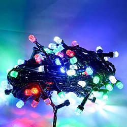 Гирлянда кристалл 200 LED 5 мм на черном проводе,разноцветная