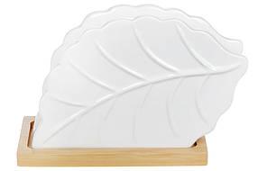 Салфетница фароровая Лист на бамбуковой основе Naturel , 9см, 375-379