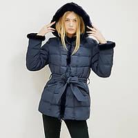 Пуховик-полупальто зимний женский Snowimage с капюшоном и натуральным мехом средней длины синий