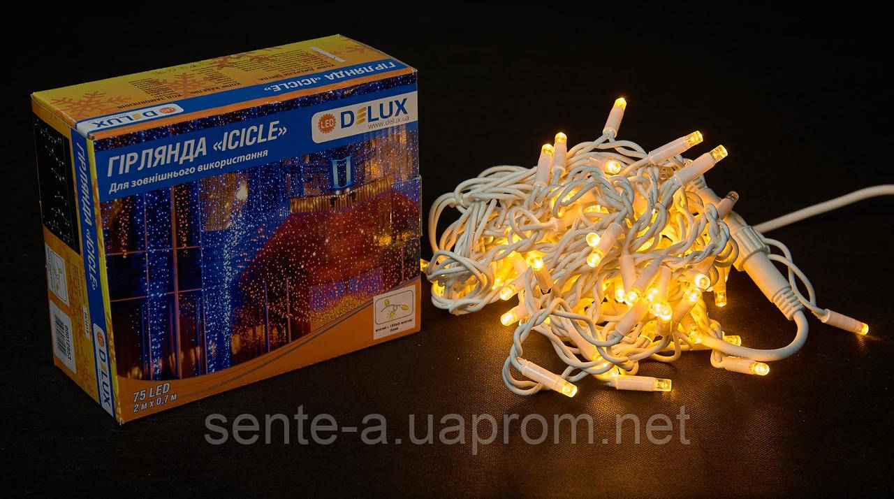 Гирлянда внешняя DELUX ICICLE 75 LED бахрома 2x0,7m 18 flash желтый/белый IP44 EN