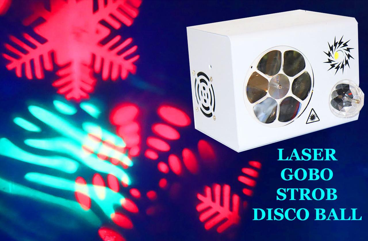 Световой прибор для светомузыки 4в1 Лазер, Строб, Гобо, Диско шар