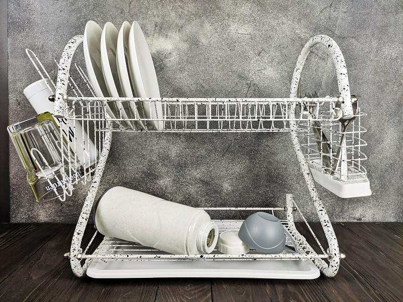 Настільна сушарка для посуду з піддоном сушка 2 ярусу 56 см Edenberg EB-2109M White