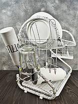 Настільна сушарка для посуду з піддоном сушка 2 ярусу 56 см Edenberg EB-2109M White, фото 2