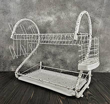 Настільна сушарка для посуду з піддоном сушка 2 ярусу 56 см Edenberg EB-2109M White, фото 3