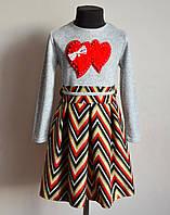 Детское платье для девочек 3-9 лет теплое ангора, фото 1