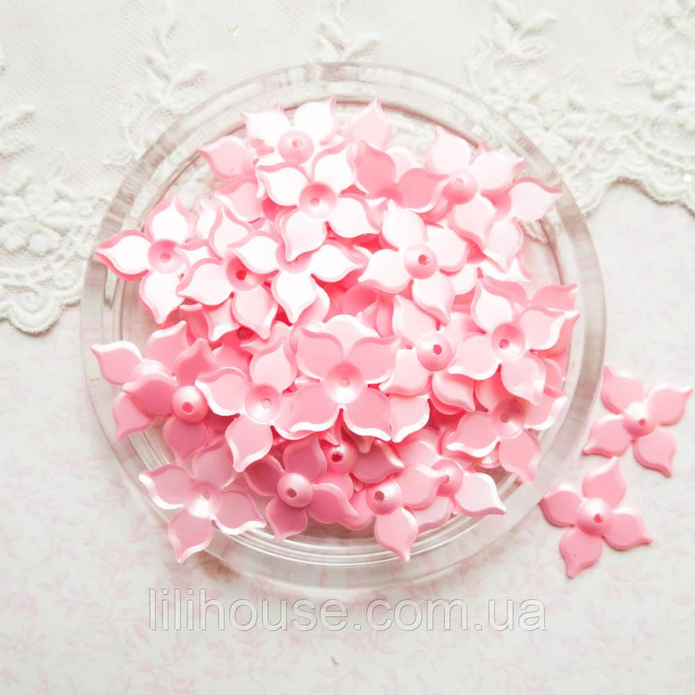 """Пайетки """"Цветы розовые"""" Индия, 25 мм - 100 г."""