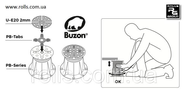 Монтаж террасных опор Buzon с разделительными крестиками и выравнивающей прокладкой для установки террасных плит