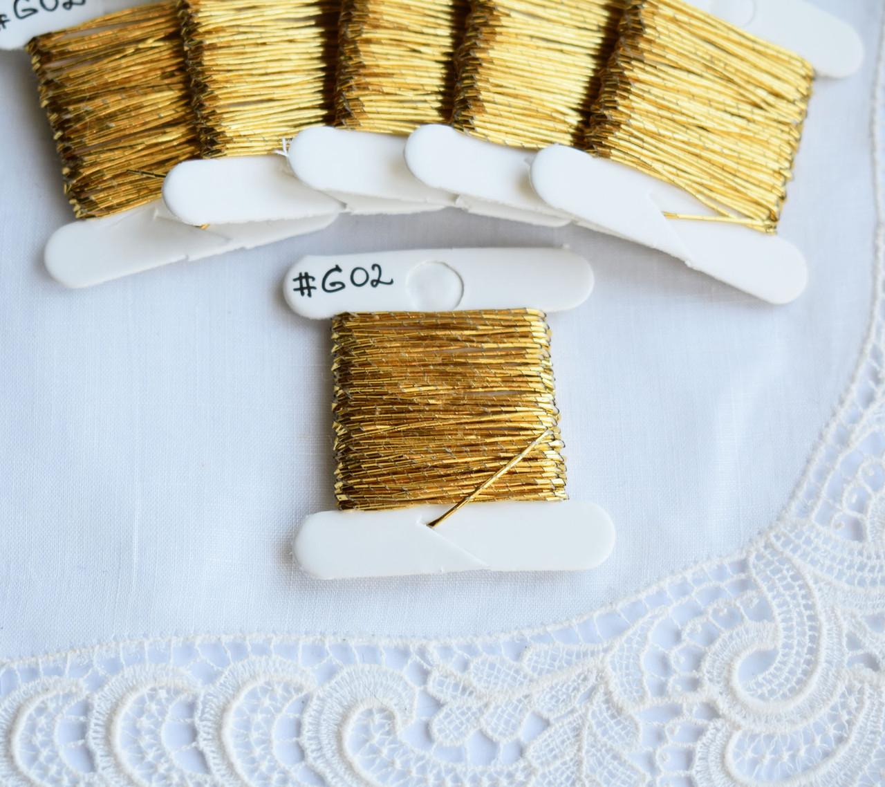Нитки золотошвейные, 0.5 мм, 3м, золотистая