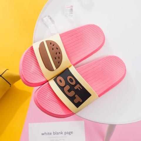 Тапочки гамбургер розовые