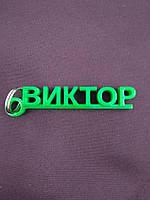 Брелок с именем Виктор. зеленый