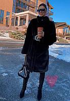 Женская искусственная шуба поперечная с воротником стойкой и длиной 105 см 71SU81, фото 1