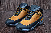 Зимние мужские ботинки  из натуральной кожи на меху в стиле Ecco Active Drive Brown 40 41 42 43 44 45 42