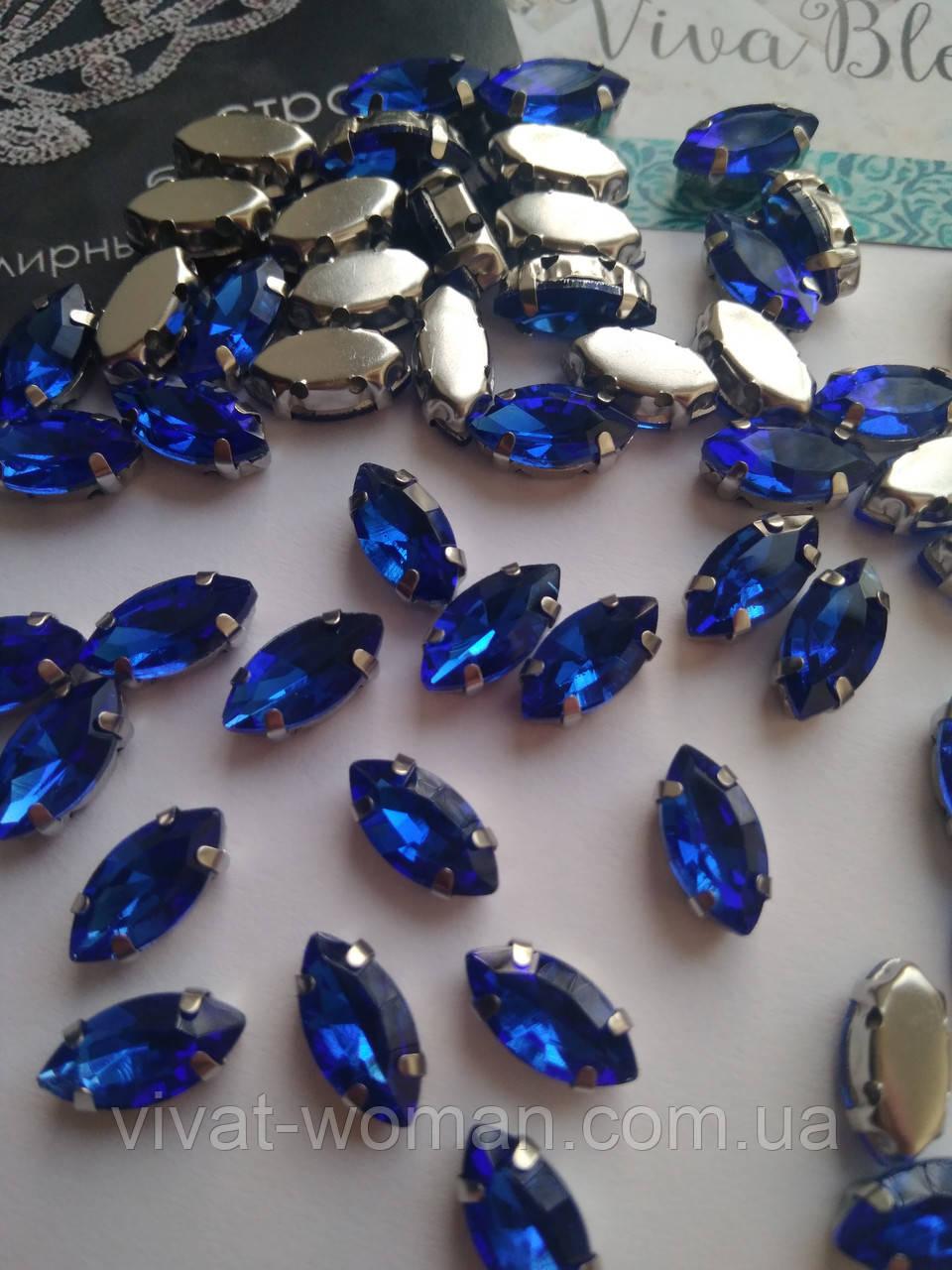 Стразы в цапах, Лодочка 5х10 мм, Sapphire, стекло, серебряная оправа. Цена за 1 шт