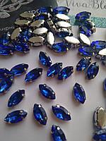 Стразы в цапах, Лодочка 5х10 мм, Sapphire, стекло, серебряная оправа. Цена за 1 шт, фото 1
