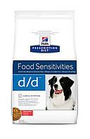 Hill's Prescription Diet d/d Food Sensitivities 12кг-Корм для собак с лососем и рисом