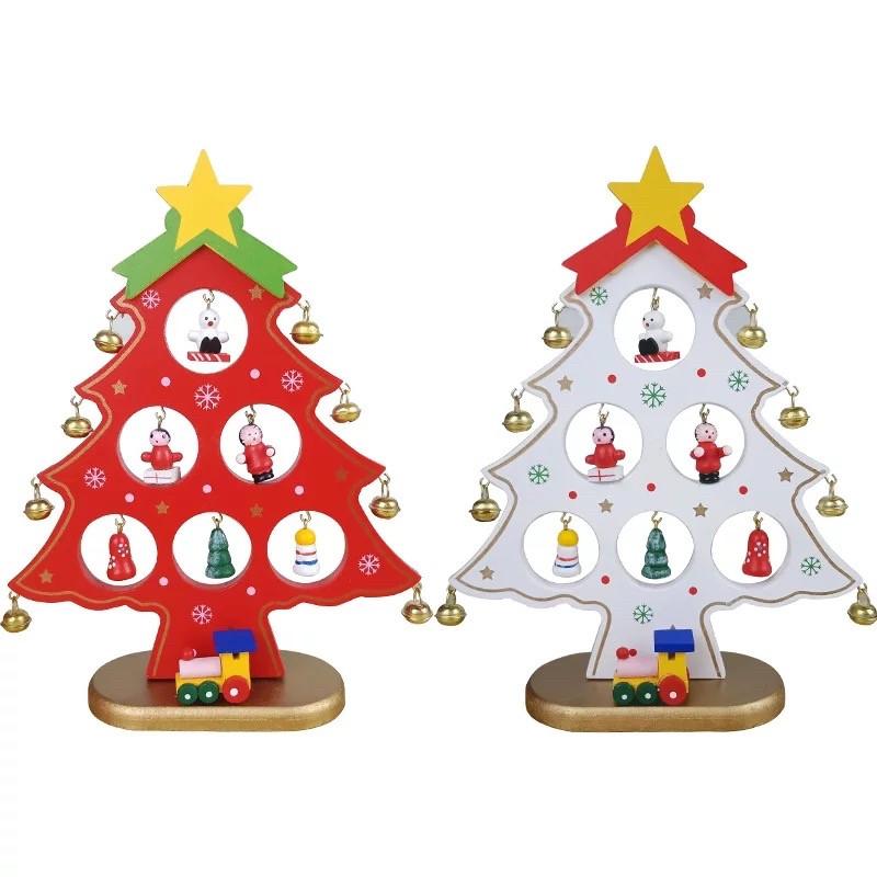Деревянная елочка с набором игрушек и колокольчиками маленькая