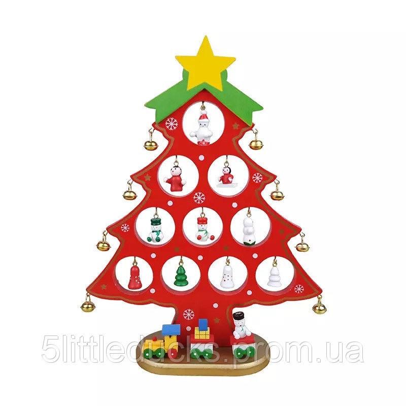 Деревянная елочка с набором игрушек и колокольчиками средняя