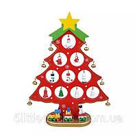 Деревянная елочка с набором игрушек и колокольчиками средняя, фото 1