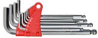 Набір ключів імбусових HEX 9шт з кулею, подовжених Cr-V (2-10 мм) Technics 49-120 |набір ключів шестигранний