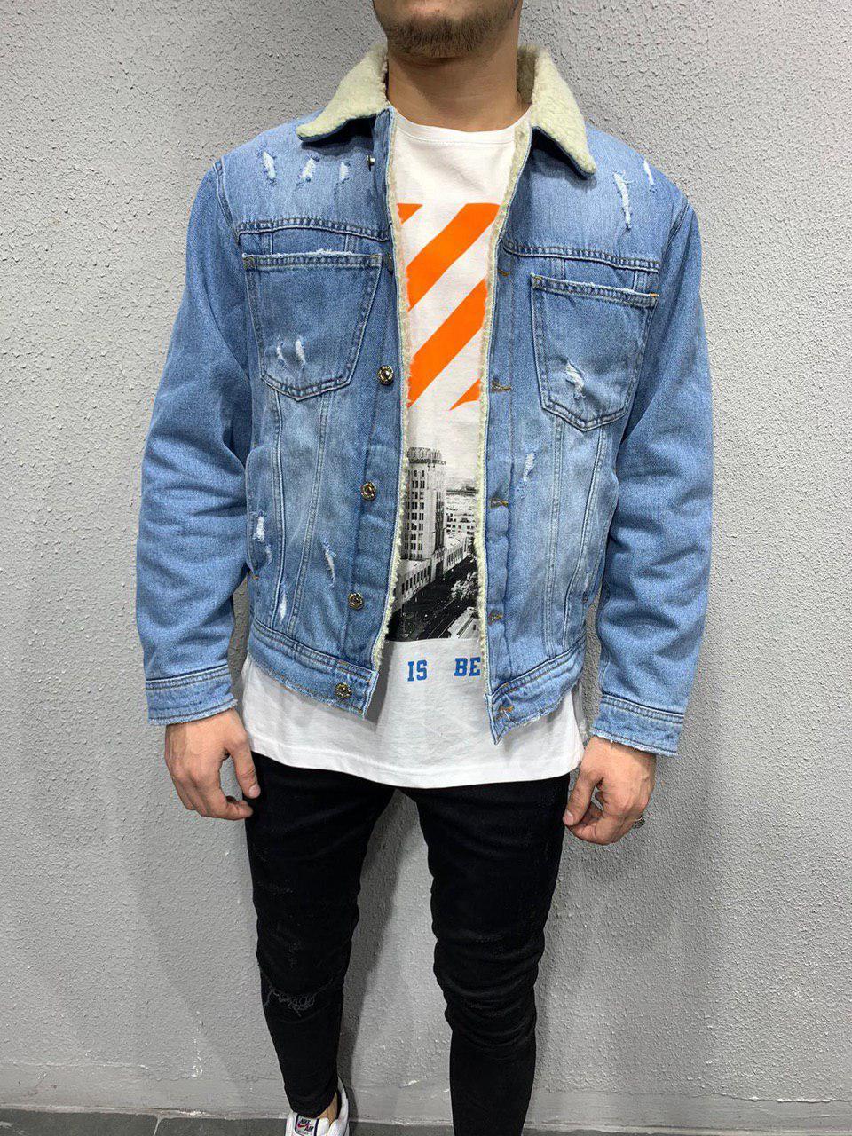 Мужская джинсовая куртка с мехом светло-синяя 2Y Premium Y0039